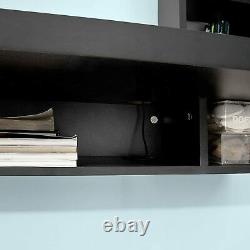 Wall Mounted Floating Computer Desk Or Dressing Table Storage Shelves In Black
