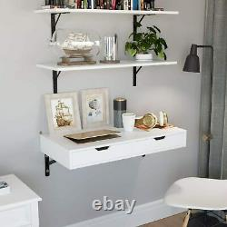 Wall Mounted Home PC Table Desk Computer Study Writing Shelf 2 Drawers White NEW