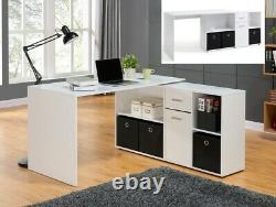 White Adjustable Computer Desk With Storage Cupboard Office Workstation PC Table