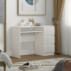 White Computer Desk PC Table High Gloss 3 Drawers Laptop Home Office Workstation