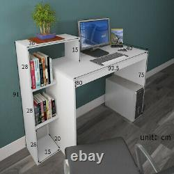 White Computer Desk Study Writing Table with Drawer Shelf PC Dressing Table Unit