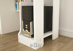 White Computer Desk With Drawer Cupboard Keyboard Shelving Storage PC Table Home