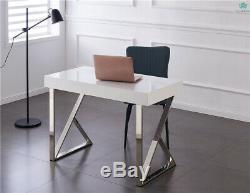 White Computer Desk With Drawers High Gloss Desktop Dressing Table Home Office