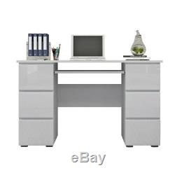 White Computer Desk With Shelve Cupboard&Drawers High Gloss PC Table Workstation