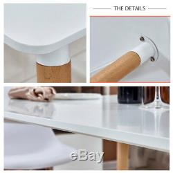 White Dining Office Table Chairs Set Rectangle Wood Legs MDF Study Computer Desk