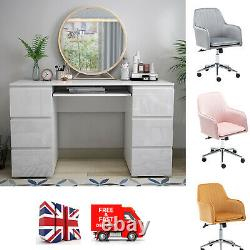 White Dressing Table High Gloss 6 Drawers Home Office PC Makeup Desk Storage