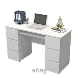 White Dressing Table Makeup Desk Computer Desk High Gloss Front with 6 Drawers
