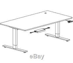 White Electric Height Adjustable Stand up Office table frame Computer Desk EU