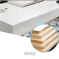 White Gloss Computer Desk with Drawer Dressing Table MDF Office Desk Furniture New