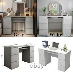 White/Grey Dressing Table Makeup Study Computer Desk with High Gloss 6 Drawers