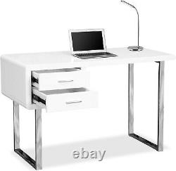 White High Gloss Computer Desk 2 Drawers Dressing Table Vanity Home Office Study