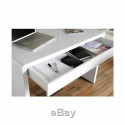 White High Gloss Computer Desk Dressing Table Modern Office Vanity Console Home