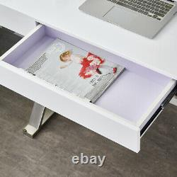 White High Gloss Computer Desk Office Dressing Table Vanity Console Furniture UK