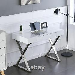 White High Gloss Computer Desk PC Table with Drawer Stainless Steel Leg MDF Top