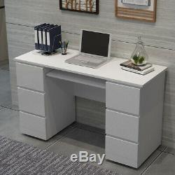 White High Gloss Drawers Laptop Study Office Desk Home Dressing Makeup Table