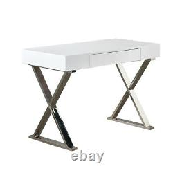 White High Gloss Table Computer Desk With Storage Drawers Dressing Workstation