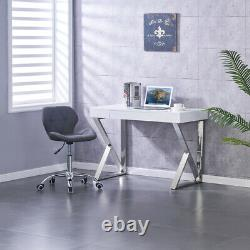 White High Gloss Vanity Desk Computer Home Office Study PC Drawer Dressing Table