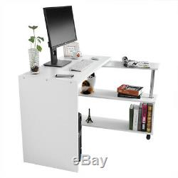 White L-Shape Corner PC Computer Desk Home Office Study/Work Table With Shelf