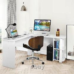White L-shaped Computer Desk Corner PC Table Workstation Home Office with Shelf