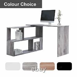 White L-shaped Computer Desk Corner PC Table Workstation Home Office with Shelves