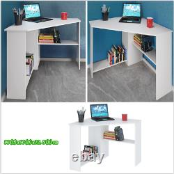 White PC L-shaped Computer Corner Desk Table Workstation Home Office with Shelves