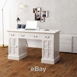 White Pedestal Desk Double Dressing Table Cabinet Writing Office Computer Study
