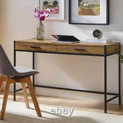 Wood Computer Desk Writing Study Table Office Home Workstation With 2 Drawers