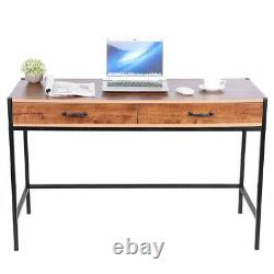 Wood PC Computer Office Desk Wooden Metal Table Home Study Workstation 2 Drawers