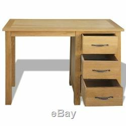 Wooden Study Desk Office Table Solid Oak Wood 3 Drawers Bedroom Computer Stand