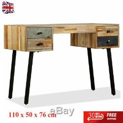 Writing Desk 110cm Solid Reclaimed Teak 4 Drawers Computer Study Table Family