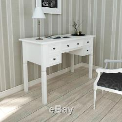 Writing Desk Dressing Table Vanity 5 Drawer Office Computer Study Bedroom White