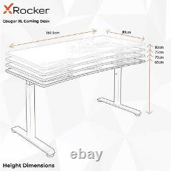 X Rocker Gaming Desk Height Adjustable Office Table Cougar XL Wide FREE MOUSEPAD