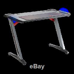 X Rocker Jaguar Gaming Office Desk Table Grey with LEDs & FREE MOUSEMAT INCLUDED